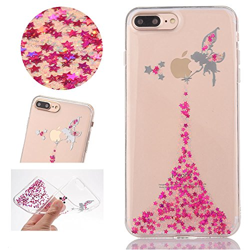 Sycode Case Cover per iPhone 8,Custodia per iPhone 7,Lusso Creative Trasparente Glitter Bling Brillante Sparkle Rose Red Fairy Fata Pattern Progettare Ultra Sottile Flessibile Morbida Silicone TPU Cus Fata,Rose Red