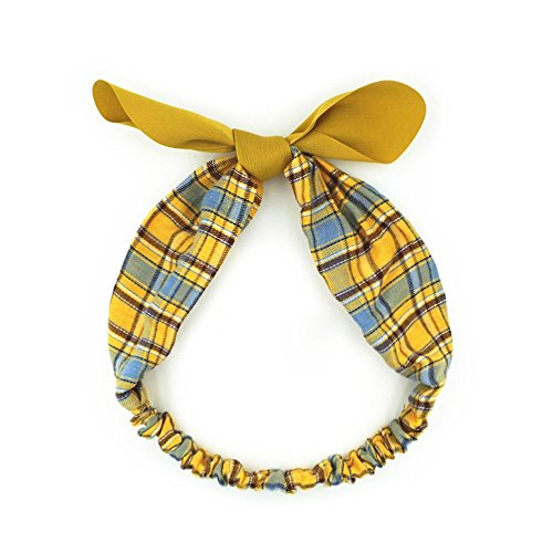 Fashionshao Vintage British Style Rabbit Ears Wide Side Hair Band Plaid Contrast Ribbon Headband, ()