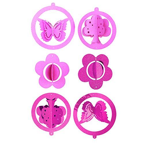Rrunzfon Nette Party-Banner 3D-Schmetterlings-Entwurfs-Banner Anhänger Garland Bunting Hanging Festival Ornament Dekor für Hochzeit Geburtstag 2Set Rosa Rose Red -