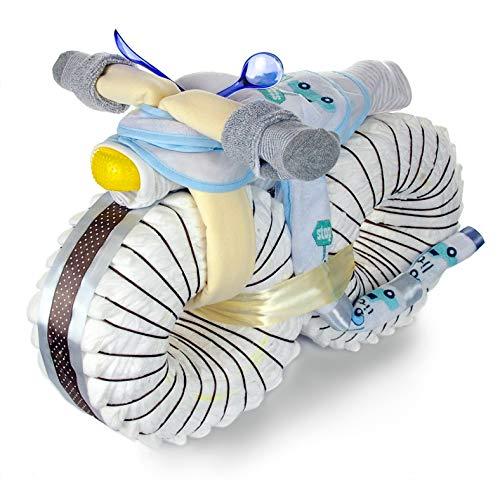 dubistda© XXL Windelmotorrad Jungen mit viel Zubehör / 67-teilig - Geschenk zur Geburt - Große Windeltorte Junge / 50cm