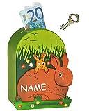 Unbekannt 3-D Spardose - Hase aus Holz - incl. Name - mit Schlüssel - stabile Sparbüchse / Sparschwein für Kinder - Holzspardose Hasen - Mädchen & Jungen - Kinderspardo..