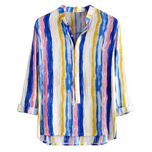 SEWORLD Hemd Herren Slim Fit Hemden Bambus Baumwolle Langarm Revers Bunt Gestreift Hemd Top Bluse Businesshemd Neue Passform Hemd für Business Freizeit Hochzeit Hemd Shirt(Blau,EU-44/CN-L) Heatgear Hood