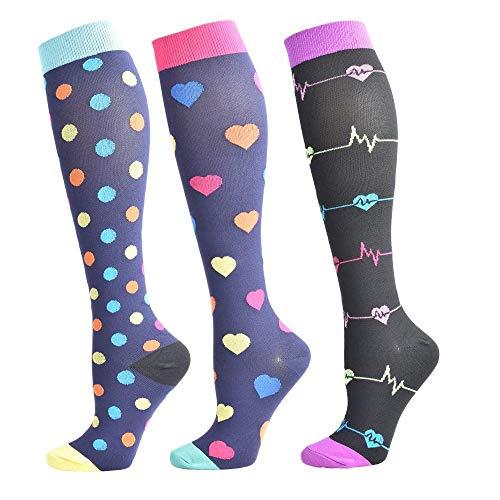 Calcetines de compresión para mujeres y hombres de 3/6 pares, mejor ajuste graduado para correr, enfermeras, viajes de vuelo, embarazo, circulación y recuperación - 20 - 25 mmhg