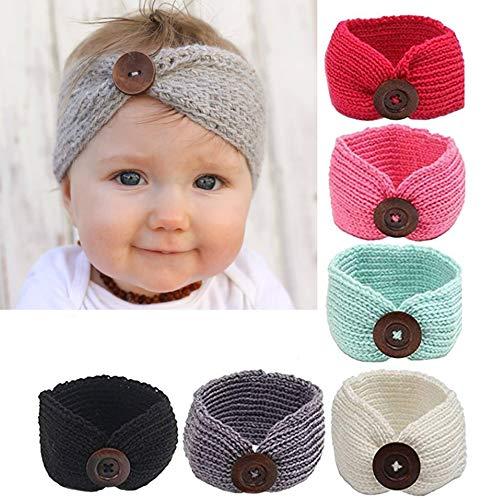 G-Baum-Baby-Stirnband mit Bögen Perfekt für Babys/Kleinkinder Netter Knoten-Bogen-Haar-Zubehör-Winter-warme Haar-Band-Bogen-Häkelarbeit Strickstirnband (6 Stück)