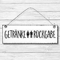 Getränke Rückgabe - WC Toilette Türschild Dekoschild Wandschild Holz Deko Schild 10x30cm Holzdeko Holzbild Deko Schild Geschenk Mitbringsel Geburtstag Hochzeit Weihnachten