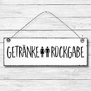 Getränke Rückgabe – WC Toilette Türschild Dekoschild Wandschild Holz Deko Schild 10x30cm Holzdeko Holzbild Deko Schild…