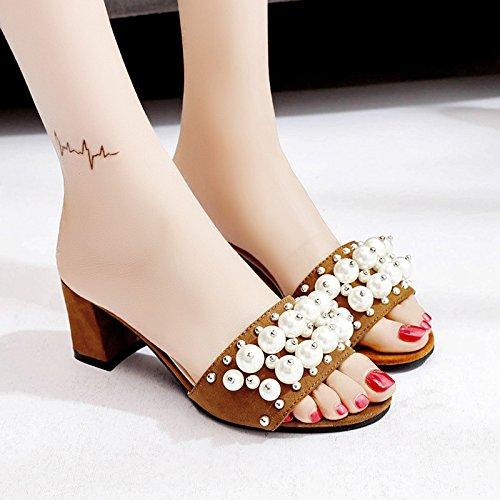 XY&GKSandales femmes sandales d'été Chaussures Femme High-Heeled Porter Chaussons All-Match Pearl Shoes,avec le meilleur service 36brown