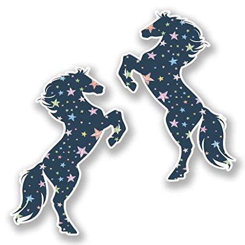 DestinationVinyl 2 x 10cm/100mm Tänzelnde Sterne Pferd Vinyl Selbstklebende Sticker Aufkleber Laptop Reisen Gepäckwagen Cool Zeichen Spaß #6430