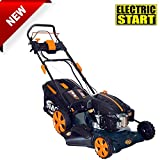 BMC Lawn Racer 20″ Self Propelled Electric Push Button Start Lithium Ion Battery 5.5HP 4 Stroke Rotary Petrol Lawn Mower with 60L Grass Collection Bag, All Steel Deck, 4 in 1 Function Cut, Cut & Collect, Mulch, Side Discharge – 2 Year Warranty