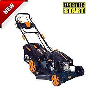 """BMC Lawn Racer 20"""" Self Propelled Electric Push Button Start Lithium Ion Battery 5.5HP 4 Stroke Rotary Petrol Lawn Mower with 60L Grass Collection Bag, All Steel Deck, 4 in 1 Function Cut, Cut & Collect, Mulch, Side Discharge - 2 Year Warranty"""