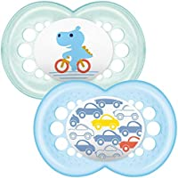 MAM Original Soothers 12+ Months (Pack of 2), Stylish Baby Soothers with Self Sterilising Travel Case, Soothing Baby Essentials, Blue (Designs May Vary)