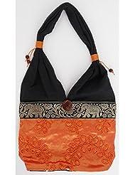 Sac bandoulière, sac besace soie Thai Orange brodé feuilles