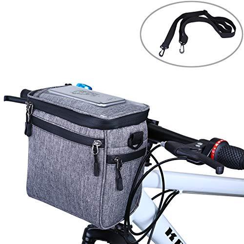 WILDKEN Fahrrad Lenkertasche Wasserdicht Fahrradtasche für Lenker mit abnehmbarem Schultergurt (Grau)