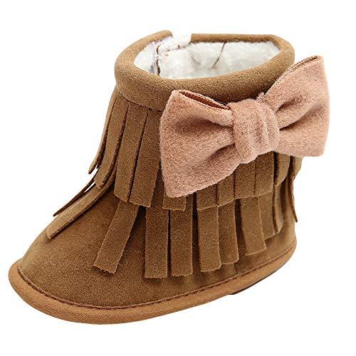 Zapatos de bebé, ASHOP Niña Niño Casuales Zapatillas del Otoño Invierno Suela Deporte Antideslizante del Zapatos Cálidas Bowknot Double-Deck borlas Soft Snow Botas 0-18 Meses (Café,6-12 Meses)