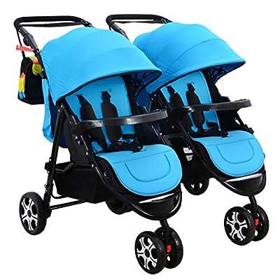 NEGJSDFG Carro de bebé ¡El Cochecito de bebé Gemelo Desmontable, el Cochecito Plegable Doble Puede Sentarse Resistente y Duradero!