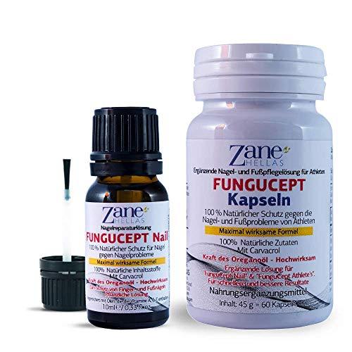 Fungucept COMPLETE .100% natürliches Nagelreaparaturlösungsset. Hochwirksam, bereichert mit Ölen, die die Vitamine A, C und E enthalten. Fungucept Nail 0,33fl.oz-10ml und Fungucept Softgel 60 Stck.