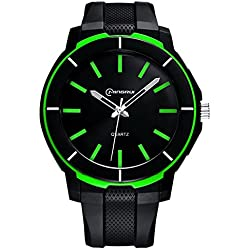 Boys Watches Leather Band 30m Waterproof Analog Quartz WristWatch(Green)