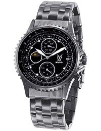 Reloj Negro de Hombre, de Pulsera, con Números Grandes de Acento de Diamante y Multi-función Día-Fecha de Konigswerk SQ201438GNP