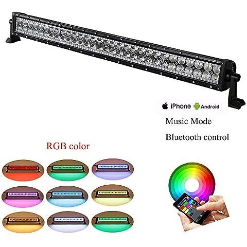colorbarz® droite 81,3cm 180W RVB Halo LED Bar avec application Câblage et contrôle Bluetooth pour Rock Kit LED Off Road lumineux Bluetooth pour camion voiture conduite LED imperméable