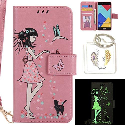 Preisvergleich Produktbild für Galaxy A5 (2017) SM-A520F (5,2 Zoll) PU Fluoreszenz Leder Silikon Schutzhülle Handy case Book Style Portemonnaie Design für A5 (2017) SM-A520F (5,2 Zoll) + Schlüsselanhänger ( XQS (2)