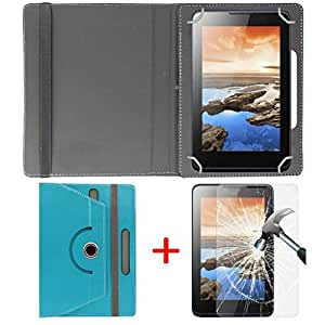 "Hello Zone Exclusive 360° Rotating 7"" Inch Flip Case Cover + Free Tempered Glass for Swipe 3D Life Plus -Sky Blue"
