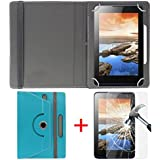 "Hello Zone Exclusive 360° Rotating 7"" Inch Flip Case Cover + Free Tempered Glass For I KALL N5 4G VOLTE Calling Tablet -Sky Blue"