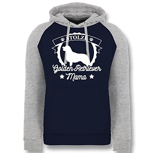 Hunde - Stolze Golden Retriever Mama - S - Navy Blau/Grau meliert - JH009 - Baseball Hoodie (Baseball Golden Retriever)