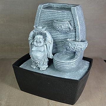 Zen Luz de pared Fuente cubierta Laughing Buddha Piedra Gris / negro 20 x 15 x 24 cm 4