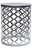 MAADES Design Marokkanische Hocker Beistelltische Sitzhocker Metall Rund - Hoka (Klein, Silber)