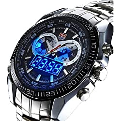 TVG Mens Boys Sport Wrist Watch Stainless Steel Quartz Digital LED Day Alarm+BOX