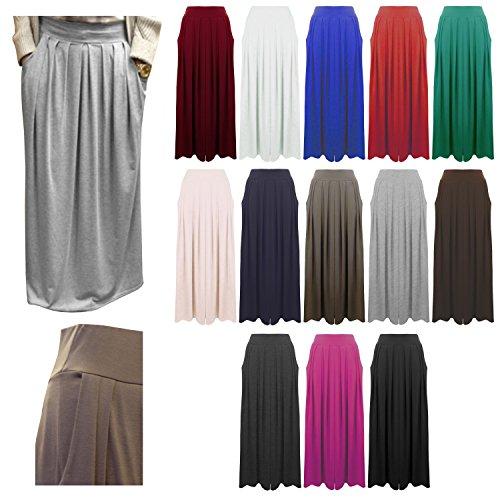 Ladies Womens Plain Pleated Elasticated Waist Pocket Long Maxi Skirt Size 8 - 14