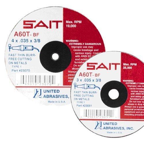 SAIT 23041 Type 1 3-Inch x 1/16-Inch x 3/8-Inch 25000 Max RPM A60T - Burr Free Cut-Off Wheels, 50-Pack by SAIT