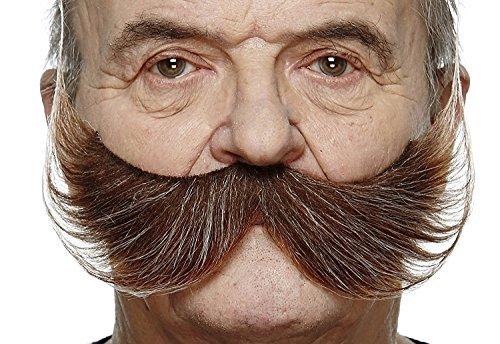Mustaches Selbstklebende Fälscher Schnurrbart Neuheit Fisherman's Falsch Gesichtsbehaarung Kostümzubehör für Erwachsene Braun mit Grauer ()