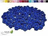 20 Stk. Satinrosen 1,5cm // Rosen 15mm Stoffrosen Satin Satinroeschen Rosenkoepfen deko Basteln Tischdeko Dekoration Streudeko Hochzeit Taufe Kommunion Blumen Applikationen, Farbe: blau / königsblau 352