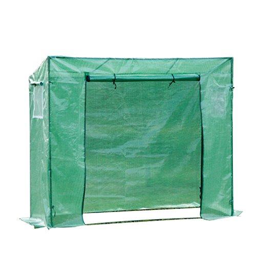 Outsunny Serre de Jardin Serre à tomates Anti-UV 2 fenêtres moustiquaires + 2 Barres renforcement 198L x 77l x 168H cm Acier PE Vert