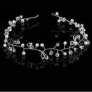 CYY Braut Kopfschmuck Kristall Perle Haare mit Brautkleid Zubehör Hochzeit Haarbänder