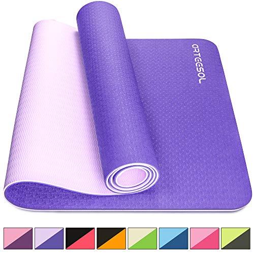arteesol Yogamatte rutschfest Gymnastikmatte Schadstofffrei TPE Naturkautschuk Dünn Yoga Matte Fitnessmatte für Yoga Pilates Fitness 183cm x 80cm x 6mm (Violett, 183x80x0,6cm)