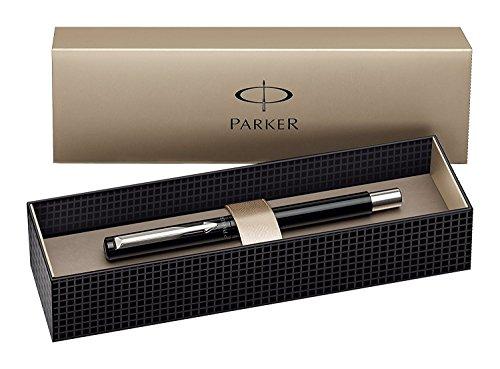 Parker Vector Tintenroller, schwarz mit verchromten Zierteilen, mittlere Spitze, blaue Tinte