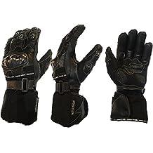 MBSmoto GLL24 guantiprotettivi per moto in tessuto e pelle, impermeabili, antivento, colore: Nero - Pelle Moto Guanto
