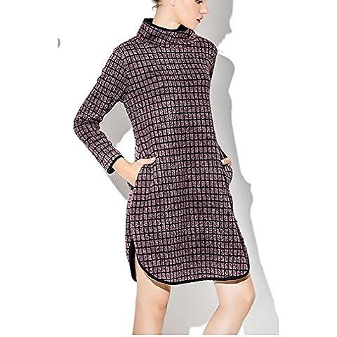 ZQQ Invierno de las señoras vestidos de tela escocesa con las tapas de tamaño más fácil de Europa split irregular , f , wine