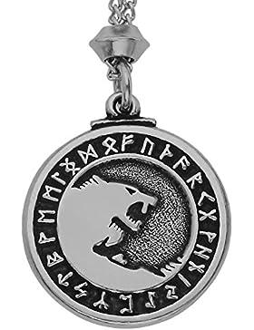 Handgemachte Wikinger Gott Odin Krieger Wolf Zinn Anhänger (mit 22 Zoll Kette)