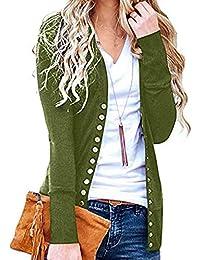 Mujer Chaqueta de Punto de Manga Larga - Moda con Cuello en V Suéter Botón Casual Escudo Delgado Suave y Elegante Ligero Ropa de Abrigo de Invierno
