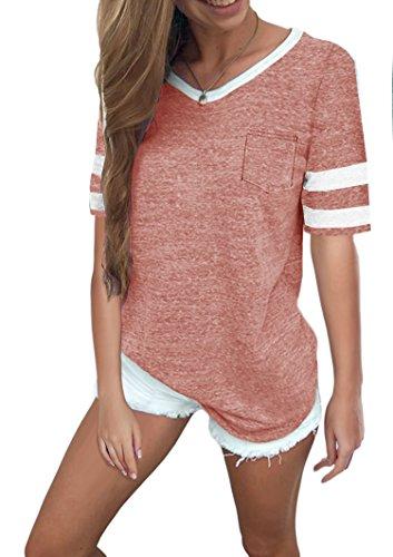 Ehpow Damen Kurzarm T-Shirt V-Ausschnitt Casual Sommer Lose Shirt Oversize Oberteile (X-Large, Rosa) (100 Baumwolle T-shirt)