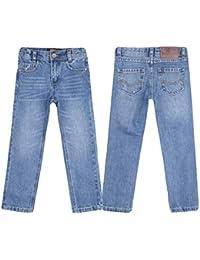 justfound4u Pantalones vaqueros de diseñador para niños, elásticos, cintura ajustable, color carbón, negro, azul y gris, para niños de 2 a 3 a 4 5 6 7 8 9 10 11 12 13 14 15 16 años