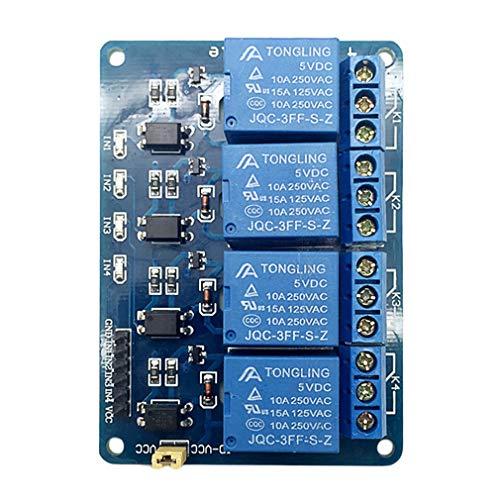 LeobooneBlau 7.5 * 5.5 * 1.8cm 5V 4-Kanal-Relaismodul Schild Relais-Erweiterungsplatine für Raspberry Pi ARM AVR DSP PIC Micro-Controller (Pic Micro)
