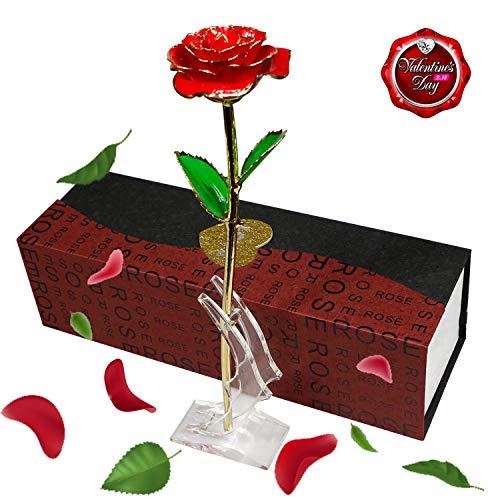 Smallrt rosa eterna, fiori artificiali placcato oro con supporto di cristallo e confezione regalo per festa della mamma, compleanno e san valentino (rosso)