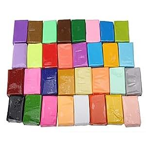 LOT de 32 Blocs de Pâte Polymère Création Bijoux Miniature Coloris Assortis