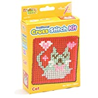 Kreative Kids Traditional Cross Stitch Kit For Children Tapestry Sewing Craft Set ~ Cat