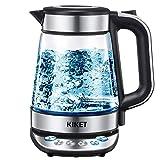 Glas Wasserkocher mit Temperatureinstellung, 1,7 Liter Teekocher mit LED Beleuchtung, Cool-Touch-Griff, Kalkfilter, BPA Frei, 2200W