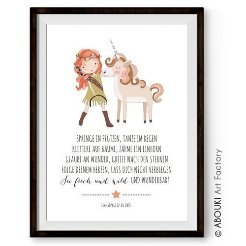 ABOUKI Kinder Poster Plakat Kinderzimmer Kunstdruck Bild - ungerahmt - mit Mädchen und Einhorn Motiv